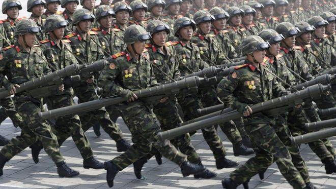 Soldiers march across Kim Il Sung Square during a military parade on April 15, 2017, in Pyongyang, North Korea to celebrate the 105th birth anniversary of Kim Il Sung, the country's late founder and grandfather of current ruler Kim Jong Un.