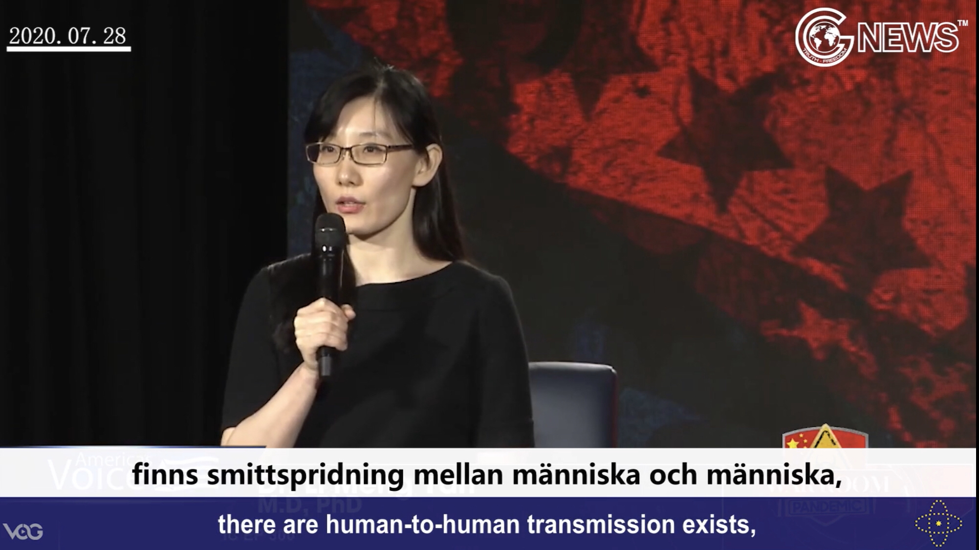 Dr. Yan: The CCP and WHO hid the truth that the virus has human-to-human transmission(English+Swedish)