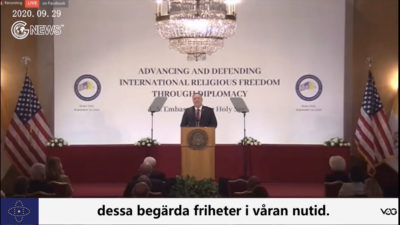 (Swedish+English)Pompeo's speech at Vatican:Pompeo criticizes the Chinese Communist Party for having battered every religious community in China