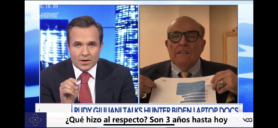 Giuliani hablando en Newsmax sobre Hunter Biden y Joe Biden
