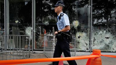 Outlaws claim to enforce law: HK police force accused a vice-chancellor responsible for campus violence