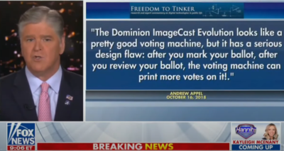 Hannity: Unsecure Dominion Voting System