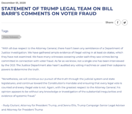 Trump Legal Team Issued Statements On AG Barr's Comment on No Evidence of Voter Fraud
