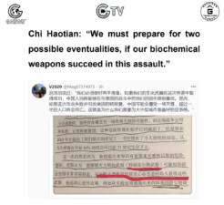 "Chi Haotian from CCP: ""We must prepare for two possible eventualities, if our biochemical weapons succeed in this assault."""