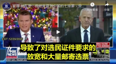 12/20/2020 Peter Navarro:I've referred to the Chinese seven deadly sins, the honor and intellectual property, force technology transfer killing us with fentanyl.