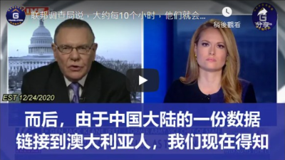 12/24/2020 Gen Jack Keane: The FBI says that about every 10 hours, they're opening a new counterintelligence investigation into a Chinese national.